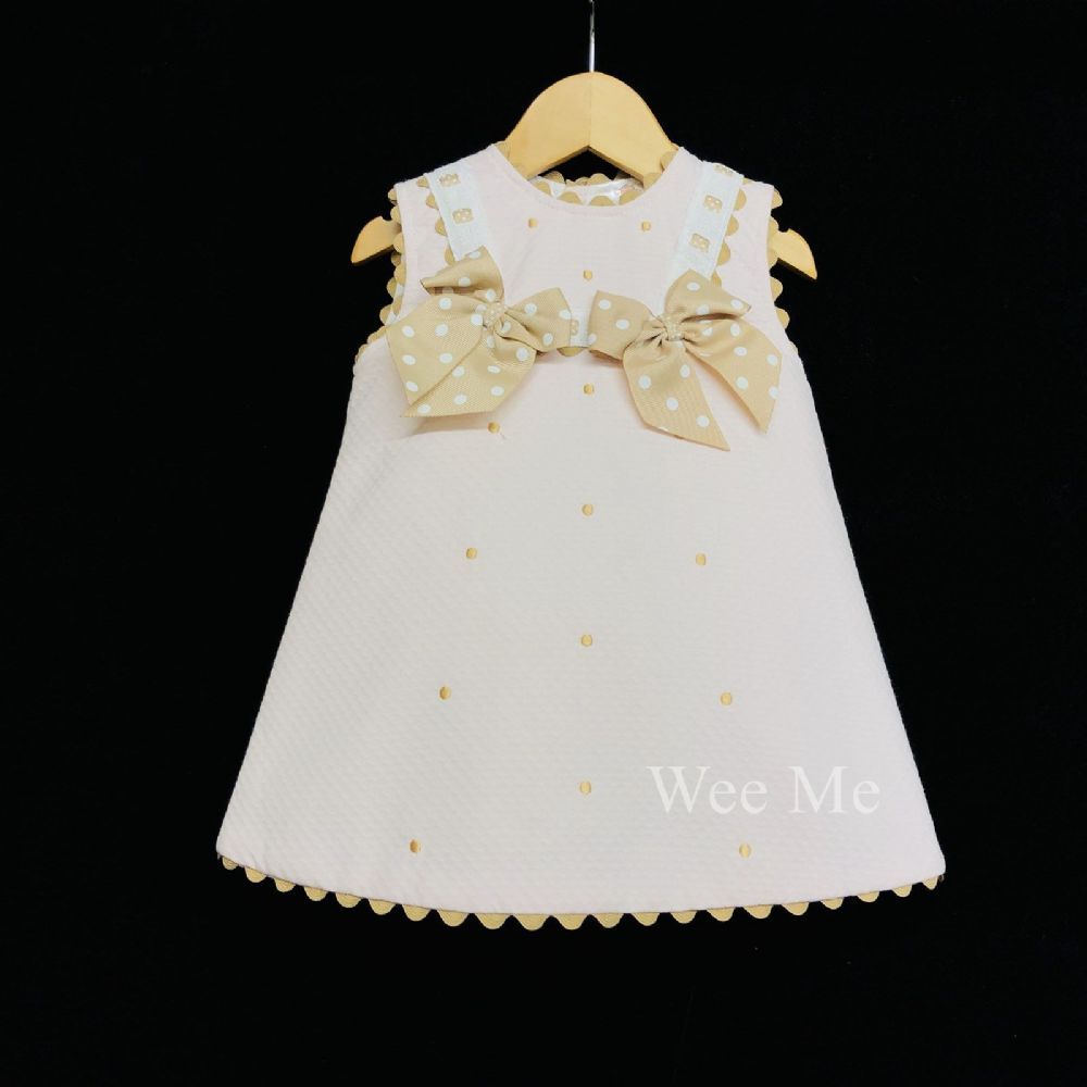 9dfea5fde *New Arrival* Gorgeous Baby Girl Pink Spanish A Line Dress Tan Polka Dots